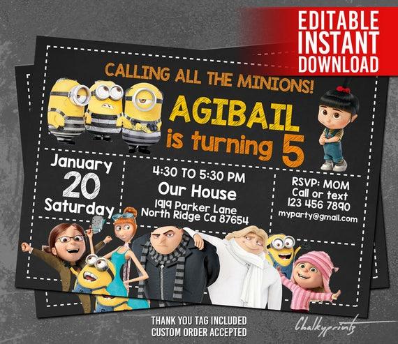 Minions Invitations Minions Birthday Invitation Minion Etsy