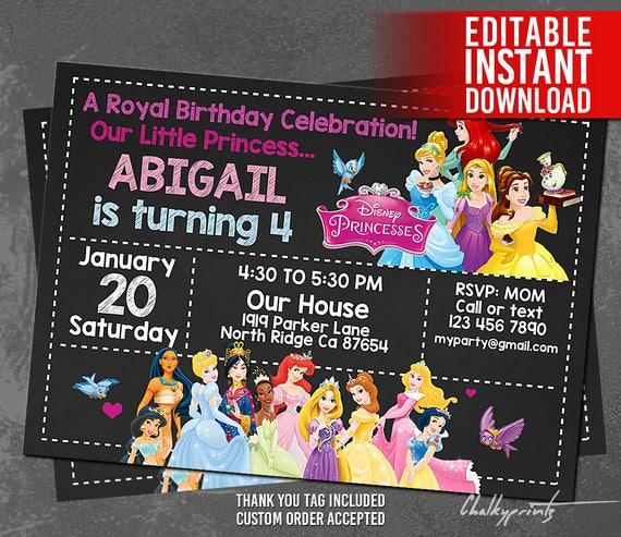 Disney Princess Invitation Instant Download