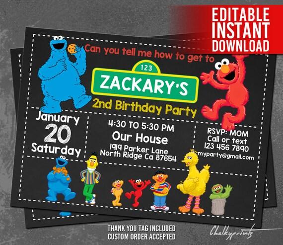 Elmo Invitation / Elmo and Cookie Monster Invitation ...