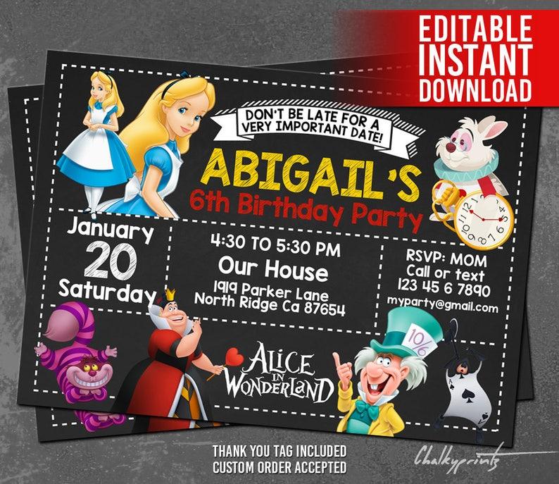 Alice In Wonderland Invitation Alice In Wonderland Party Alice In Wonderland Printables Alice In Wonderland Invites Instant Download