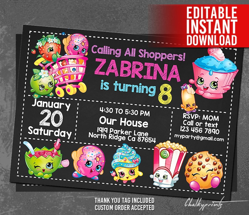Shopkins Invitation Instant Download Birthday