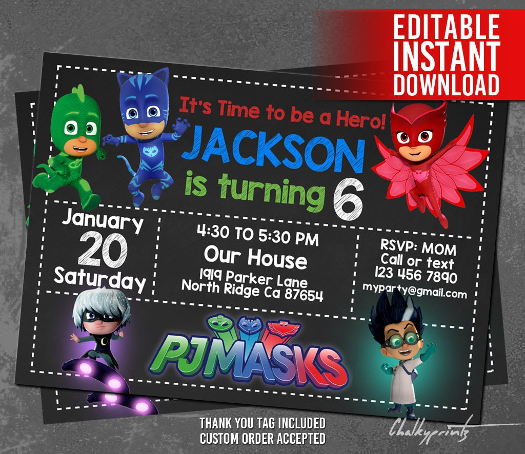PJ Masks Invitation Instant Download Pj