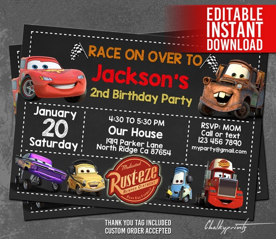 Disney Cars Invitation Instant Download Disney Cars Birthday Etsy