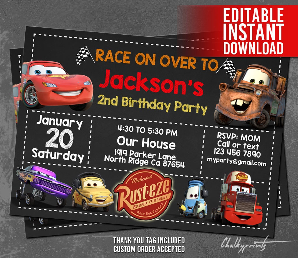Cars Invitation Card Template Free: Disney Cars Invitation Instant Download Disney Cars