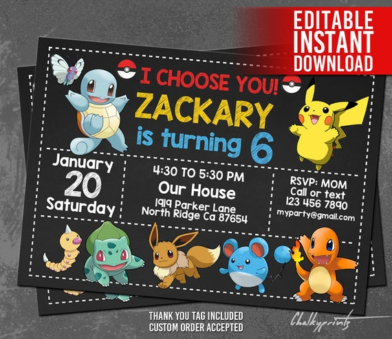 Pokemon Invitation Instant Download Birthday Invites Thank You Tags Editable