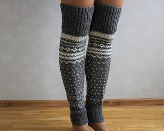 Black red leggings Leg warmers women Gift for her Hygge scandinavian Eco-friendly Handmade leggings Leggings for dancer Wool leggings