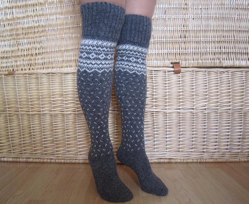 Grey wool long socks Norwegian wool knee socks Winter knit  2cc2999968