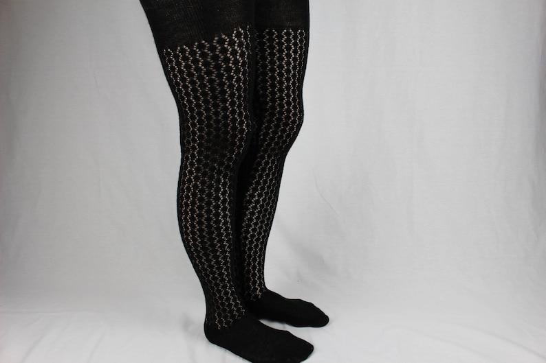 193a631a9 Knit wool tights Black lace tights Womens winter tights