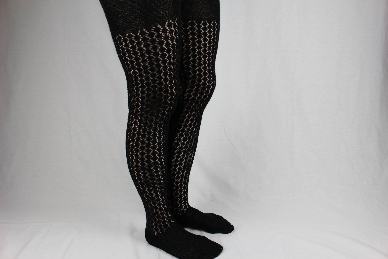 1818c98e8 Knit wool tights Black lace tights Womens winter tights