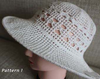 Hand Knit Hat, Cotton Hat, Womens Sun Hat, Summer Hat, Crochet hat