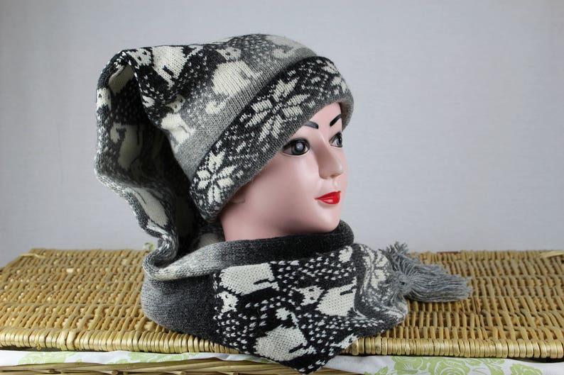 dcc3c9a87e0 Winter knit scarf hat Grey wool scarf hat Cat winter hat