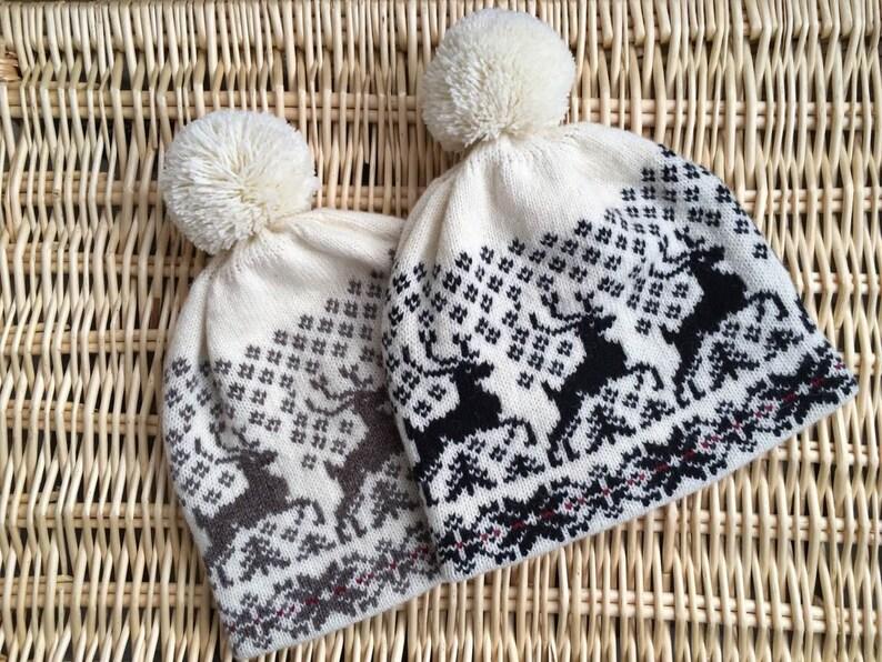 a2972feb2 Norwegian wool hat, Womens winter hat, Nordic knit wool hat, Christmas wool  hat, Deers winter hat, Extra warm winter hat