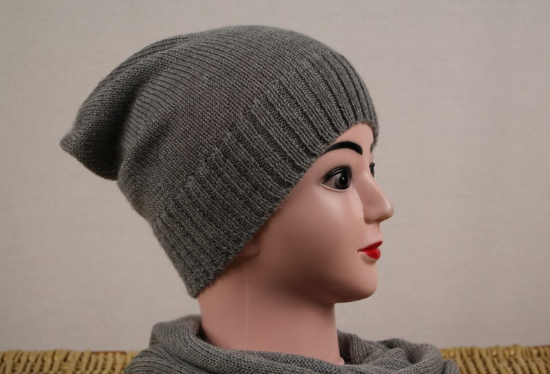 fac21511078 Alpaca knit hat Grey wool beanie Winter wool hat Womens