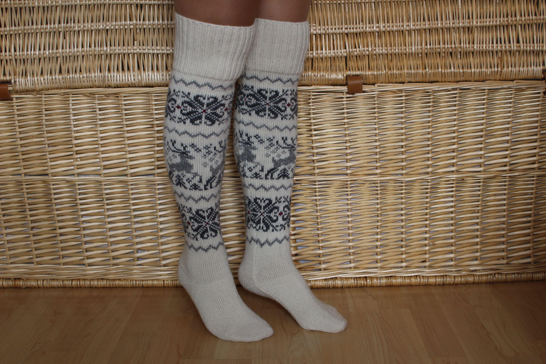 Norwegian wool knee socks Christmas knit long socks Winter  aadf15672e