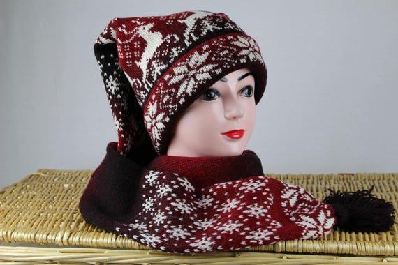 Red wool scarf hat Norwegian knit scarf hat Winter long  7e8eab9e27b