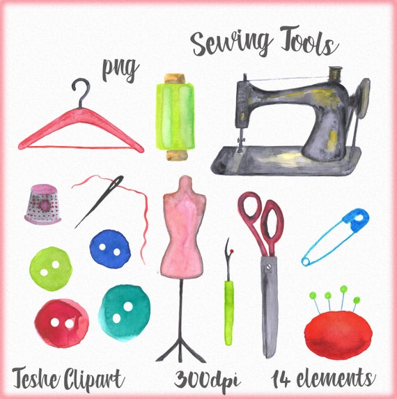 Sewing Clipart Sewing Tools Clipart Hand Painted Sewing Set Etsy