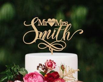 Custom Personalized Mr and Mrs Name Date Heart Modern Wedding Cake Topper