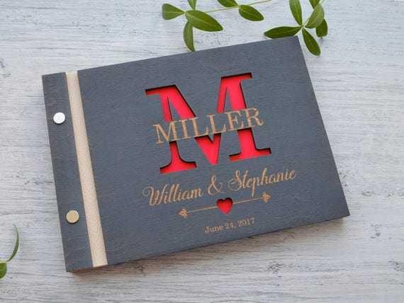 Size 11x8 in Custom Engraved Guest Book Wooden Monogrammed Guest Book Rustic Guestbook Wedding Sign Book Personalized Monogram Guestbook