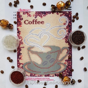 bead stitching craft coffee cup wood set FLK-013 DIY bead embroidery kit grandma gift unfinished wooden cutouts needlepoint pattern