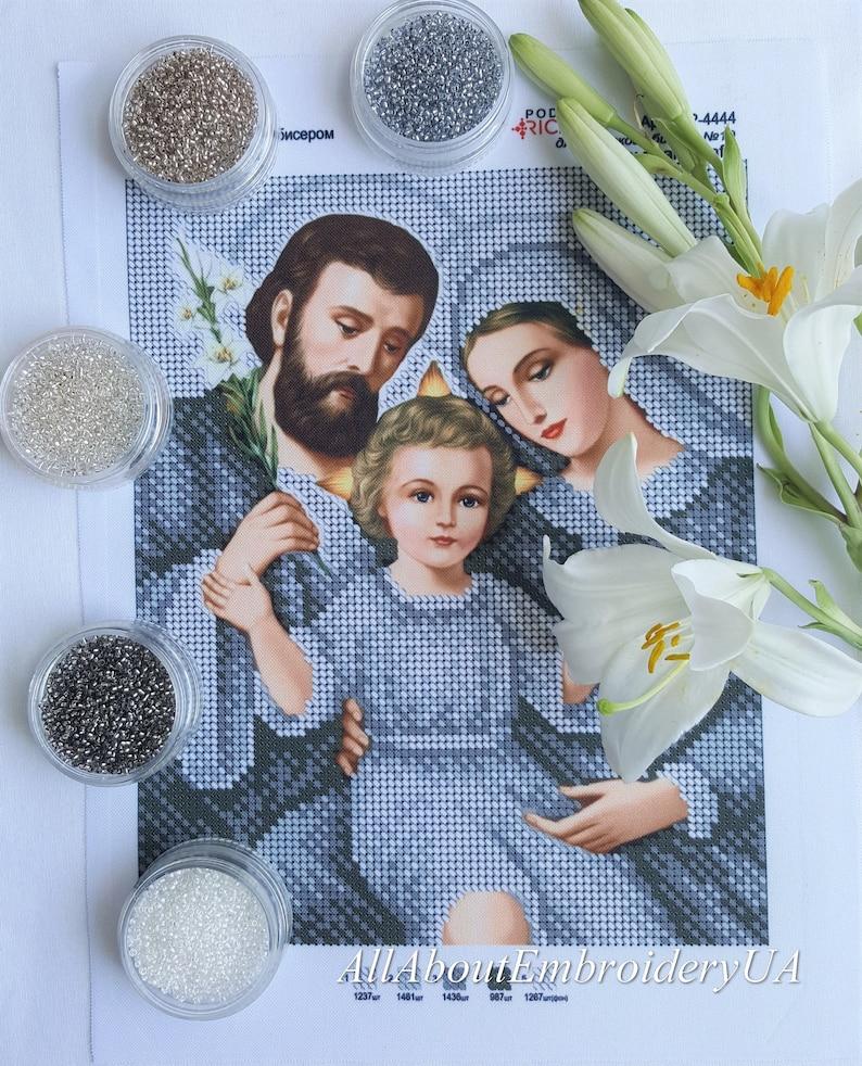 Zroszony Kit Hafty świętej Rodziny Zestaw Beadpoint Religijne Etsy