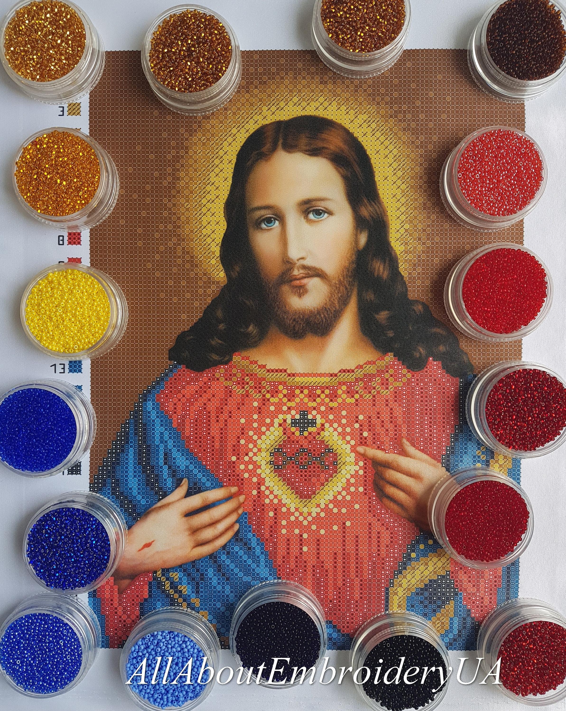 Sacré coeur de Jésus Christ Christ Christ - broderie de perles bricolage kit icône religieuse catholique peinture Sainte Eglise Art photo cadeau dévotion travaux à l'aiguille f1e9d8