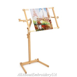 Needlework Floor-Standing Type Stand with Adjustable Frame Made of Organic Beech Wood Tapestry Cross Stitch Embroidery Frame Holder 15.7 x 22