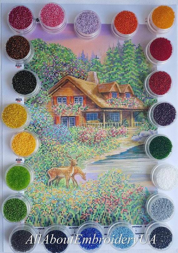 Bead Embroidery kit Rainbow Fractal Beaded cross stitch kit Handcraft Tapestry