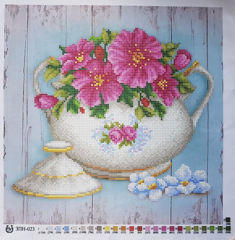 Teapot Bead embroidery needlepoint tapestry kit Kitchen DIY wall decor Beaded cross stitch kits Beadwork kit