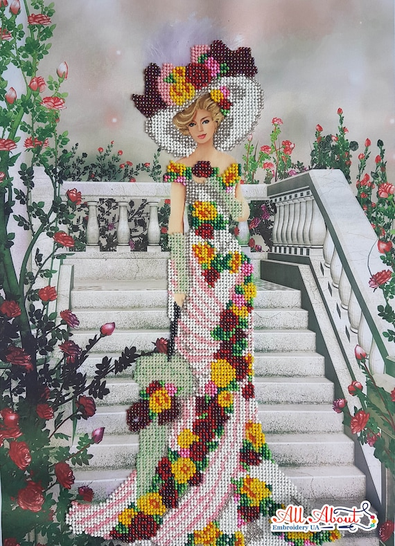 Bead Embroidery Kit Queen of the garden Flowers DIY Beadwork kit Beading kit Hand embroidery Beaded Stitching