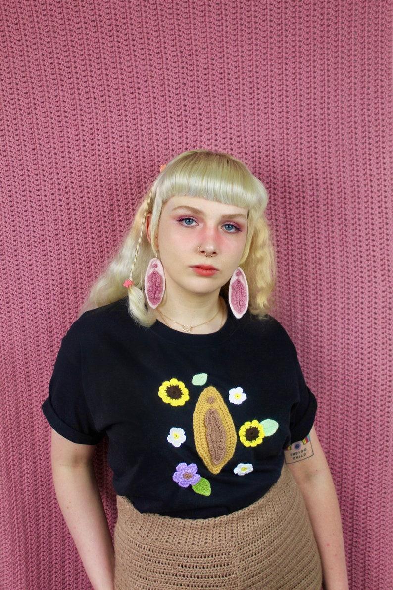 Tan Flower Crochet Tee