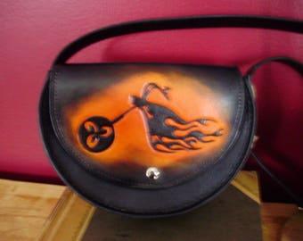 Bag, shoulder bag half moon has motorcycle/flame pattern