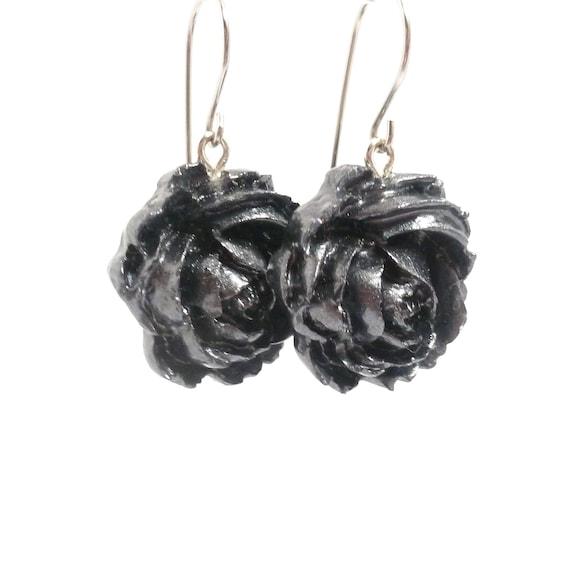 Beautiful Gunmetal Gray and Black Dangle Earrings