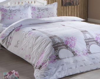 paris eiffel tower twin full double queen bedding duvet cover quilt cover - Paris Bedding