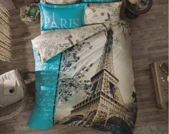 Paris Eiffel Tower Twin Full Double Queen Bedding Duvet Cover Quilt Cover. paris in love