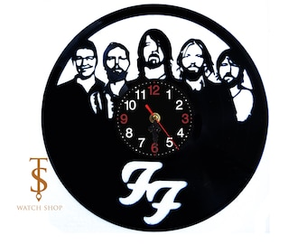 Foo Fighters Vinyl Clock  Rock Band Vinyl Records Wall Art Handmade Decor   Gift For Men Women  Home Room Decoration