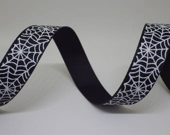 Halloween spiders web grosgrain ribbon 15mm