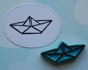 Paper boat rubber stamp // origami stamp // eraser stamp // handcarved stamp // scrapbooking // scrap // Bullet Journal // hanko
