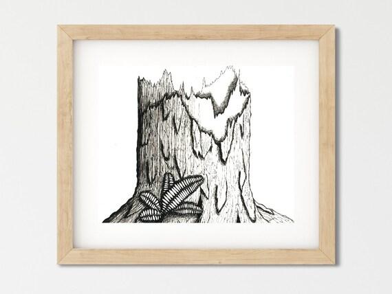 Pen And Ink Drawing Digital Download Wall Art Prints Black Etsy