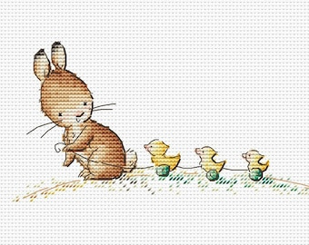 Bunny and ducklings Counted Cross Stitch Pattern Instant download chart cute Bunny pattern for baby printable PDF file cross stitch pattern