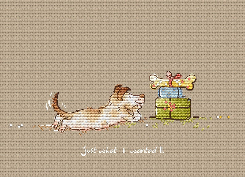 Happy Birthday Dog Cross Stitch Pattern Gifts Instant