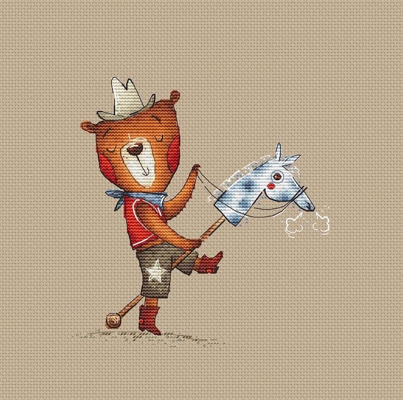 Cowboy Ted Bear Cross Stitch Pattern Teddy bear cowboy pattern Instant download printable PDF file Nursery Decor boy cross stitch