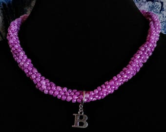 Kumihimo Medium raspberry pink necklace