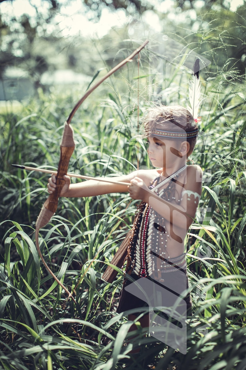 Youth Traditional Wooden Bow and Arrow set for fun target image 0