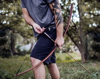 Standard Straight Archery Bow for Adults -  35lb Faux Handcrafted Wood Finish - Great for Beginner & Intermediate Archers