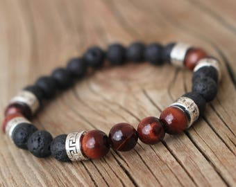Men's Red Tigers Eye and Lava Rock Essential Oil Diffuser Mala Bracelet