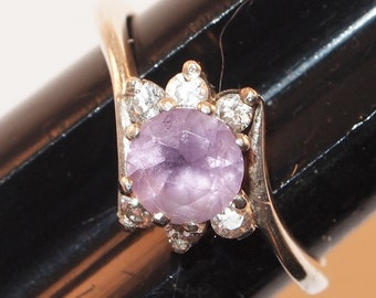 850eea1756fd Beautiful STERLING SILVER 925 Clear and Lilac Stones RING Size 7.75