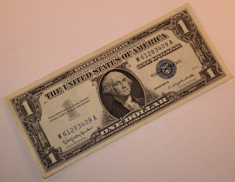 1957 B U S One Dollar Bill Silver Certificate Note Blue Etsy