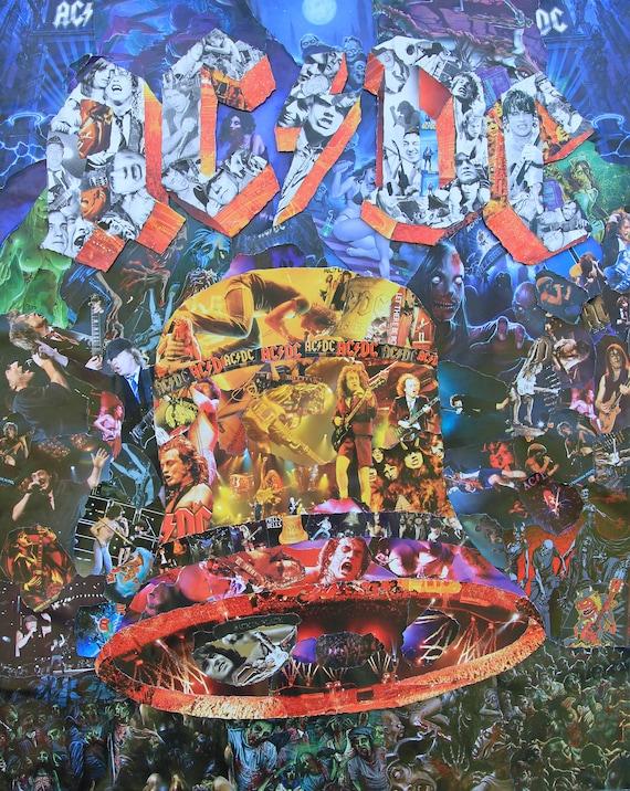 Ac dc hells bells collage poster druck oder leinwand etsy - Collage leinwand erstellen ...