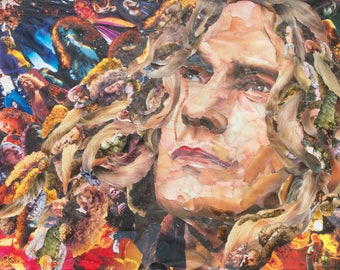Robert Plant of Led Zeppelin Collage Poster, Print or Canvas