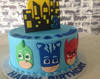 Pj Masks Decor Cake Topper With Name And Age Birthday